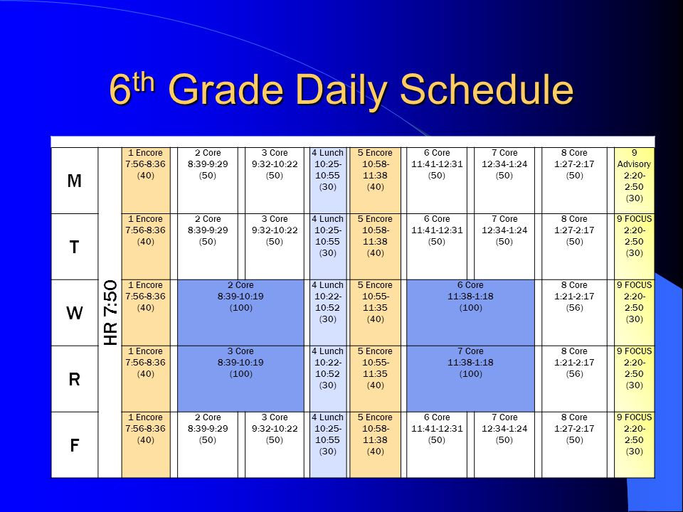6th Grade Daily Schedule