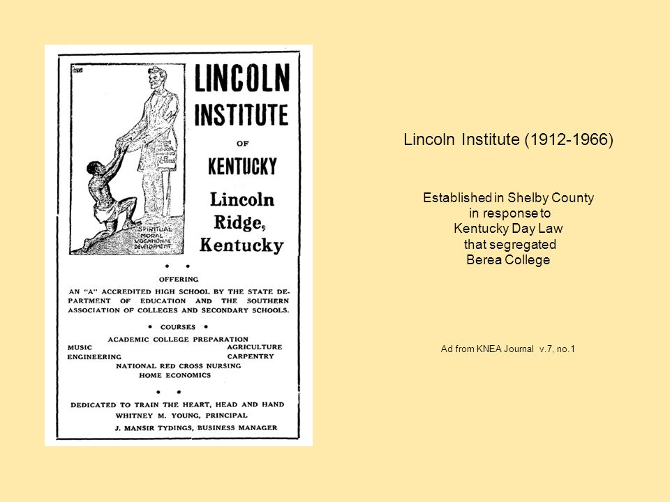 Lincoln Institute (1912-1966) Established in Shelby County