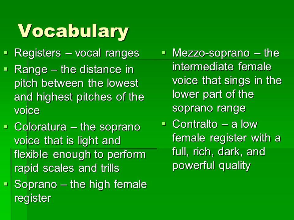 Vocabulary Registers – vocal ranges