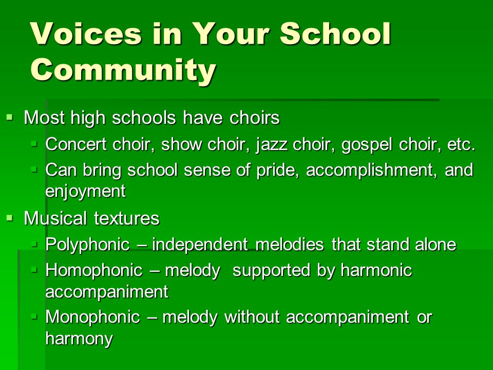 Voices in Your School Community