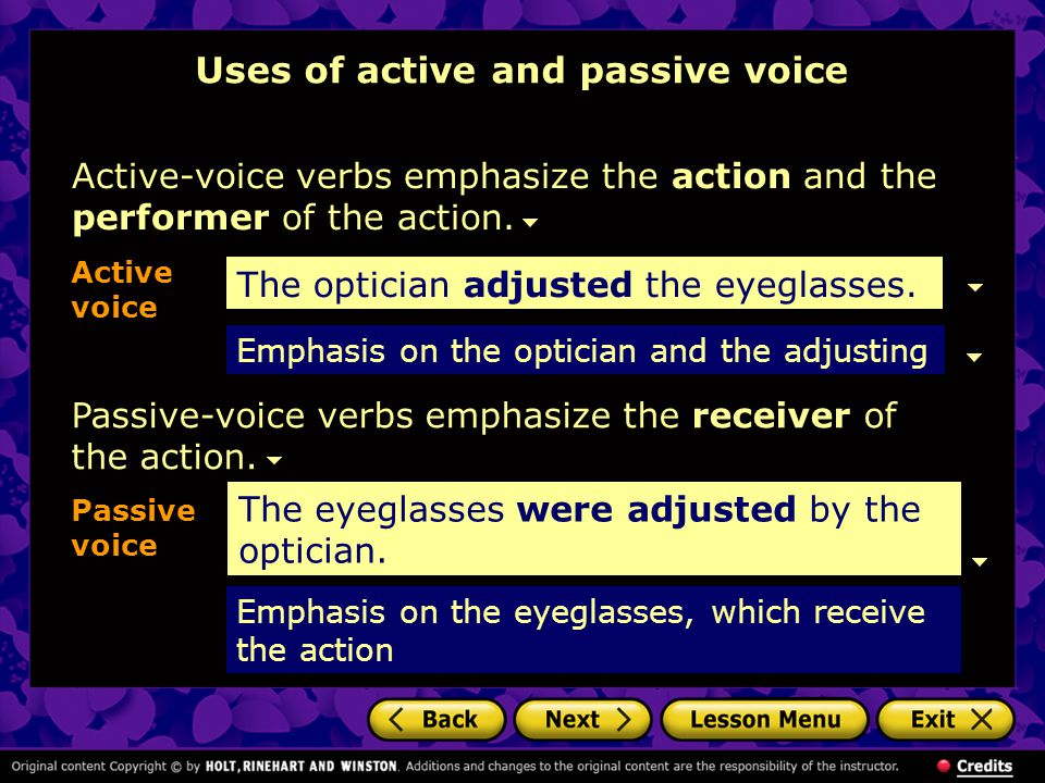 Uses of active and passive voice