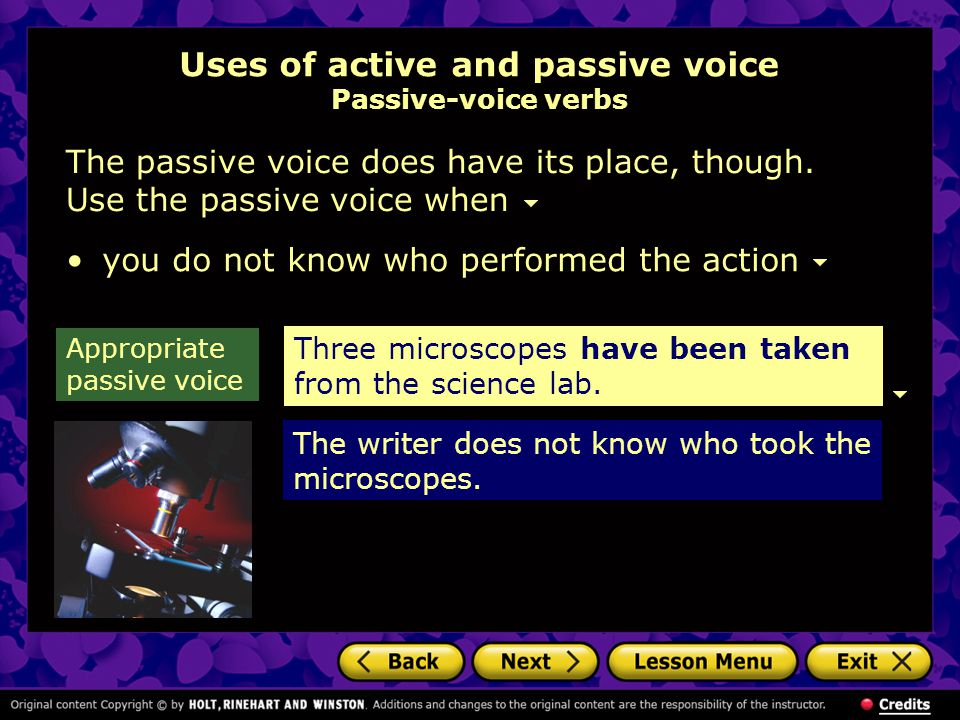 Uses of active and passive voice Passive-voice verbs