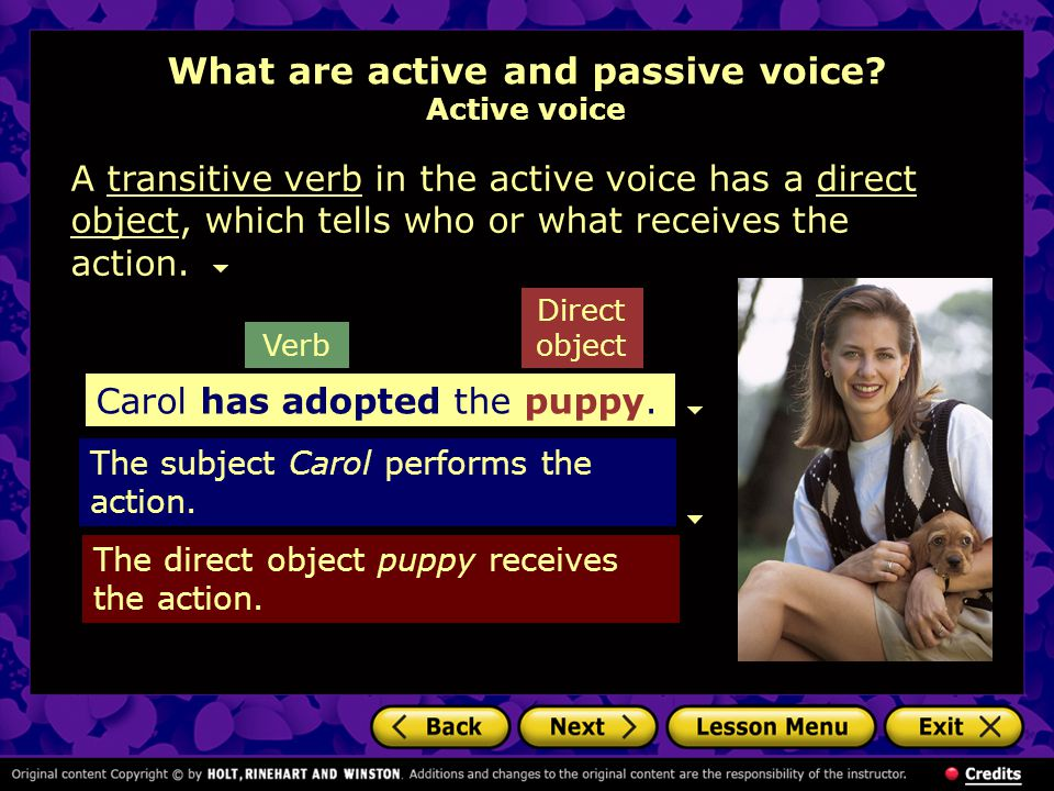 What are active and passive voice Active voice