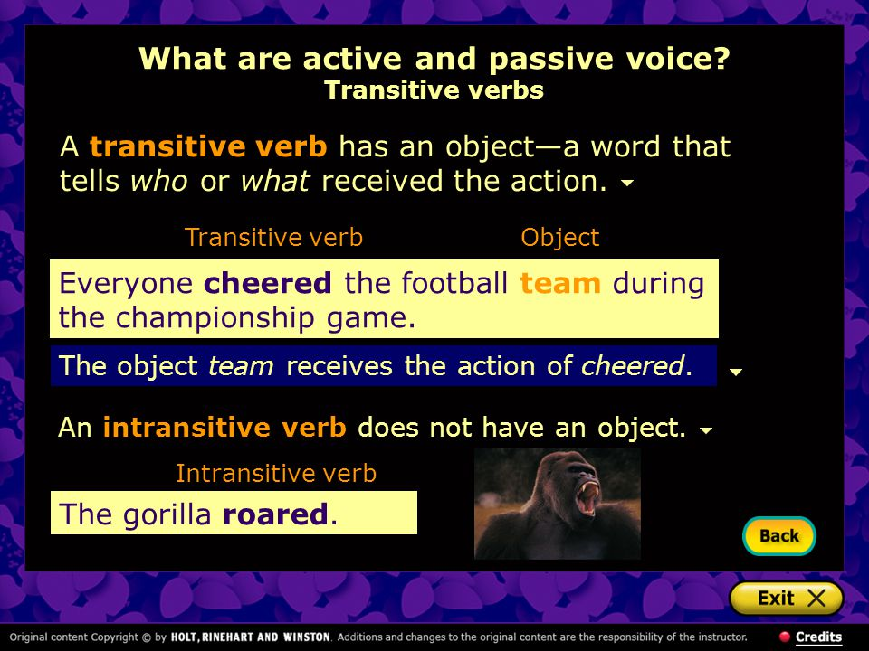 What are active and passive voice Transitive verbs