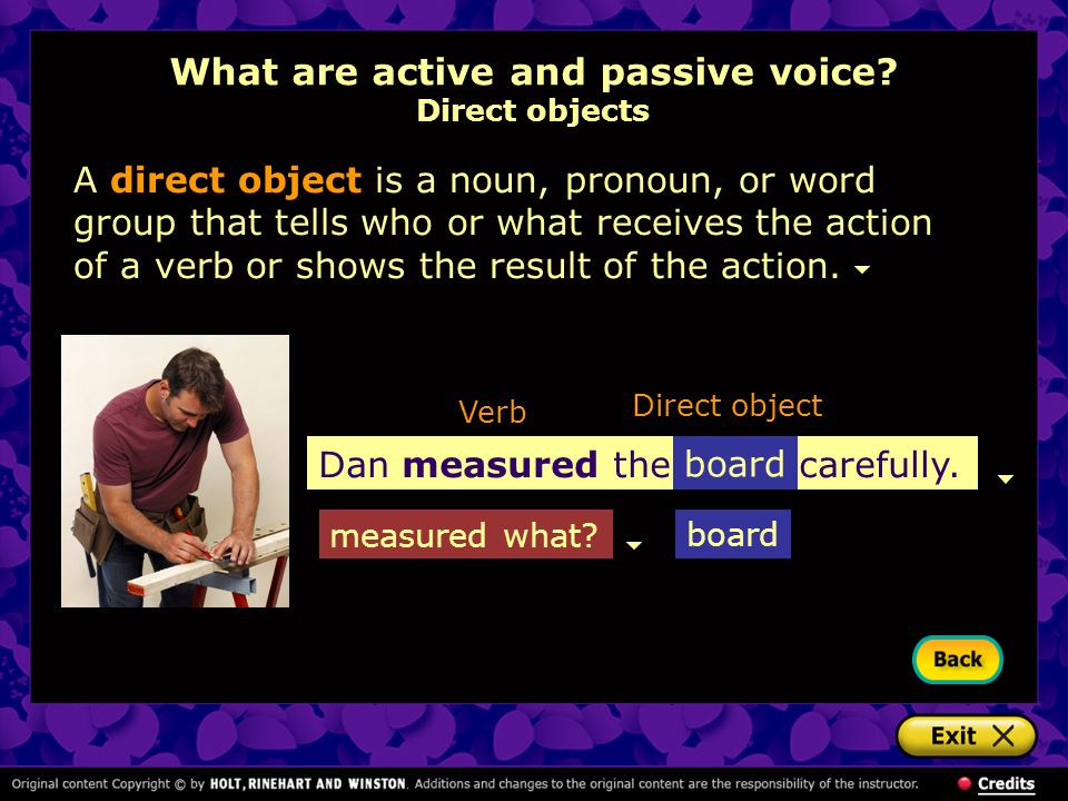 What are active and passive voice Direct objects