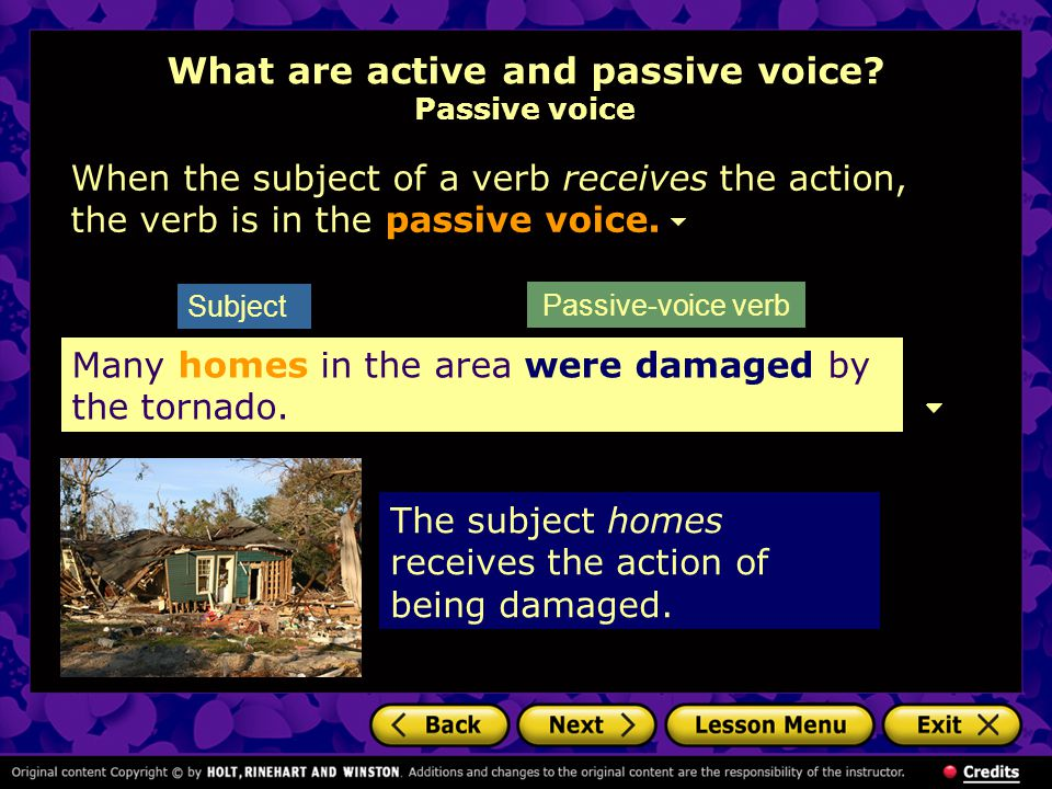 What are active and passive voice Passive voice