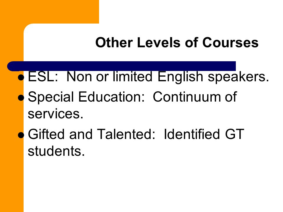 Other Levels of Courses