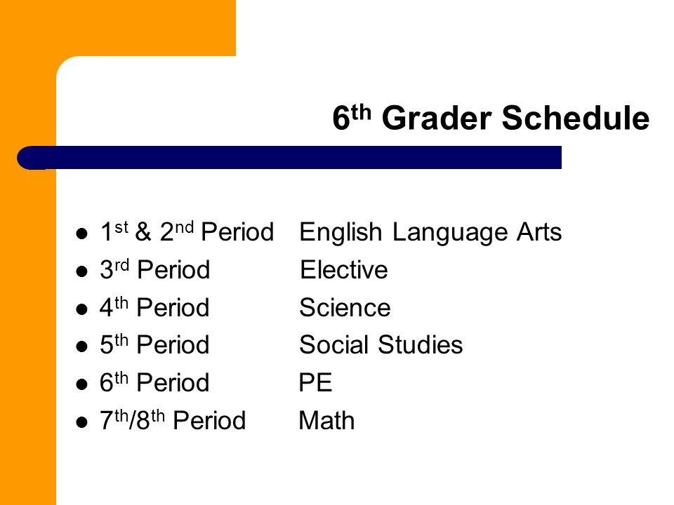 6th Grader Schedule 1st & 2nd Period English Language Arts