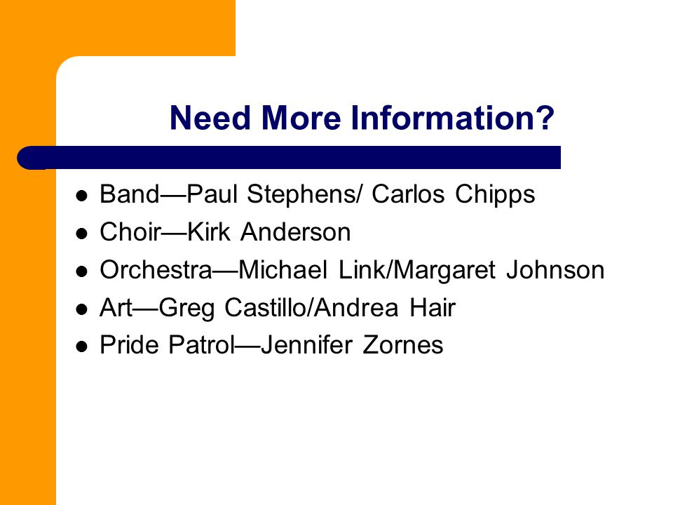 Need More Information Band—Paul Stephens/ Carlos Chipps