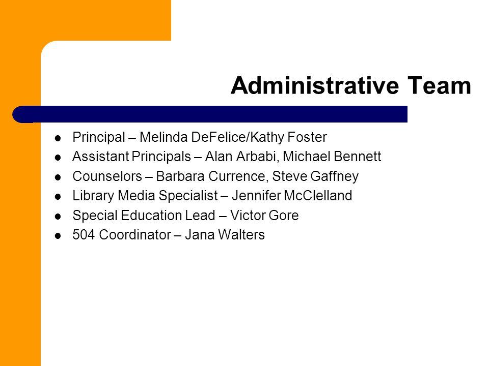 Administrative Team Principal – Melinda DeFelice/Kathy Foster