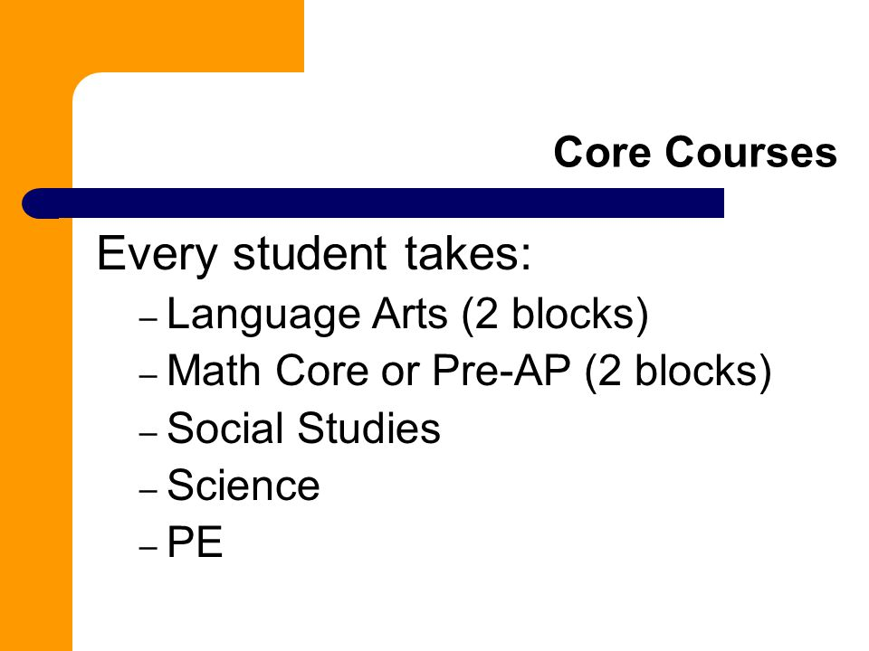 Every student takes: Core Courses Language Arts (2 blocks)