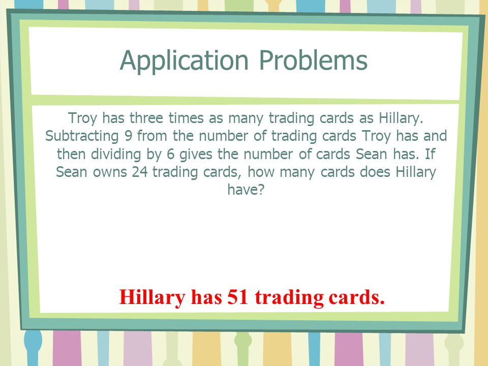 Hillary has 51 trading cards.