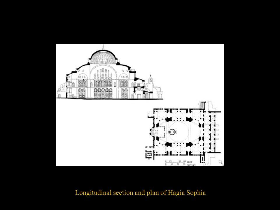 Longitudinal section and plan of Hagia Sophia