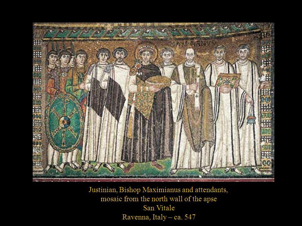 Justinian, Bishop Maximianus and attendants,