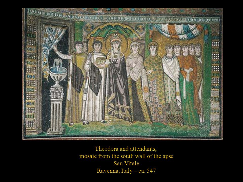 Theodora and attendants, mosaic from the south wall of the apse