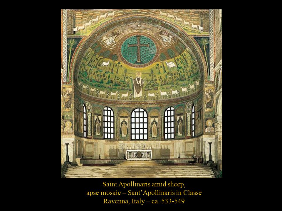 Saint Apollinaris amid sheep, apse mosaic – Sant'Apollinaris in Classe