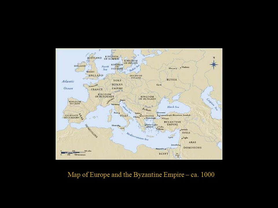 Map of Europe and the Byzantine Empire – ca. 1000