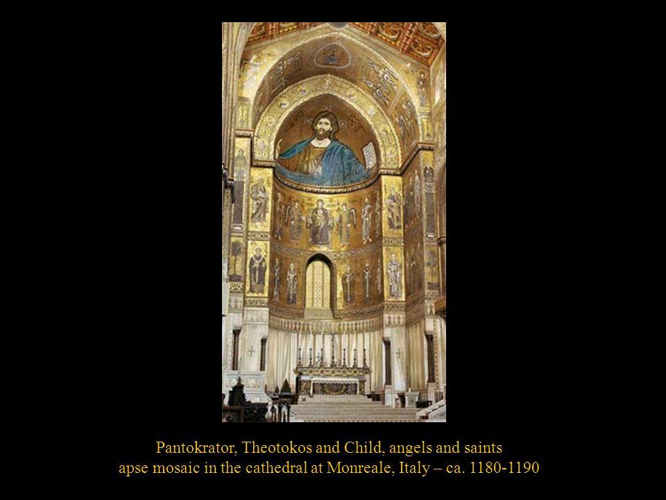 Pantokrator, Theotokos and Child, angels and saints