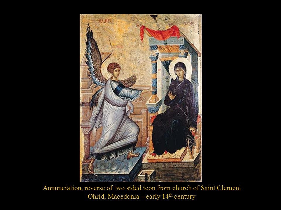 Annunciation, reverse of two sided icon from church of Saint Clement