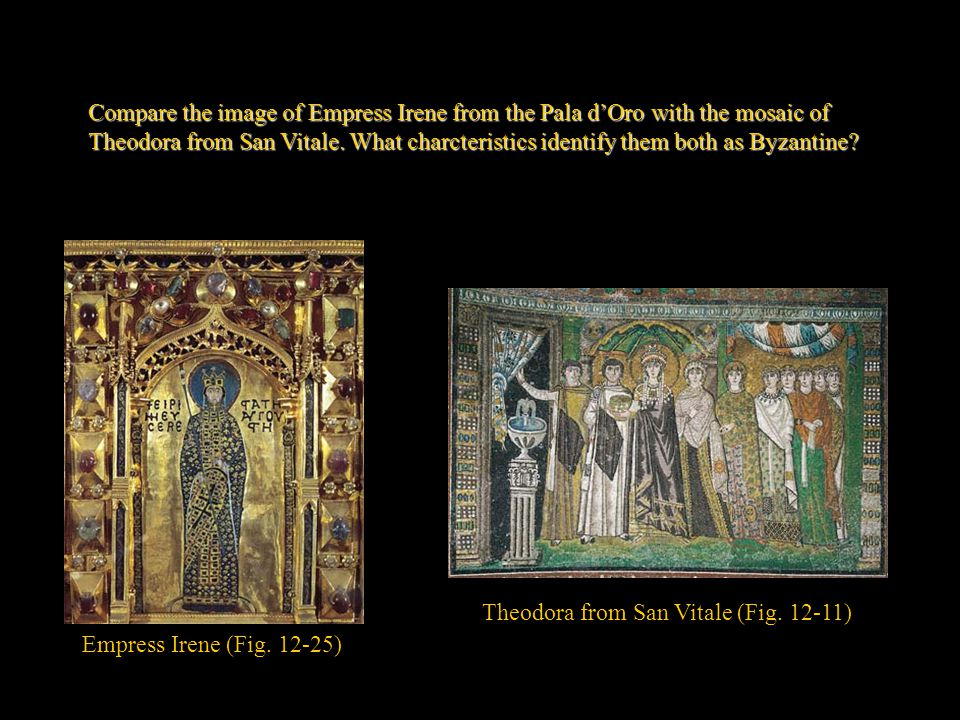 Compare the image of Empress Irene from the Pala d'Oro with the mosaic of