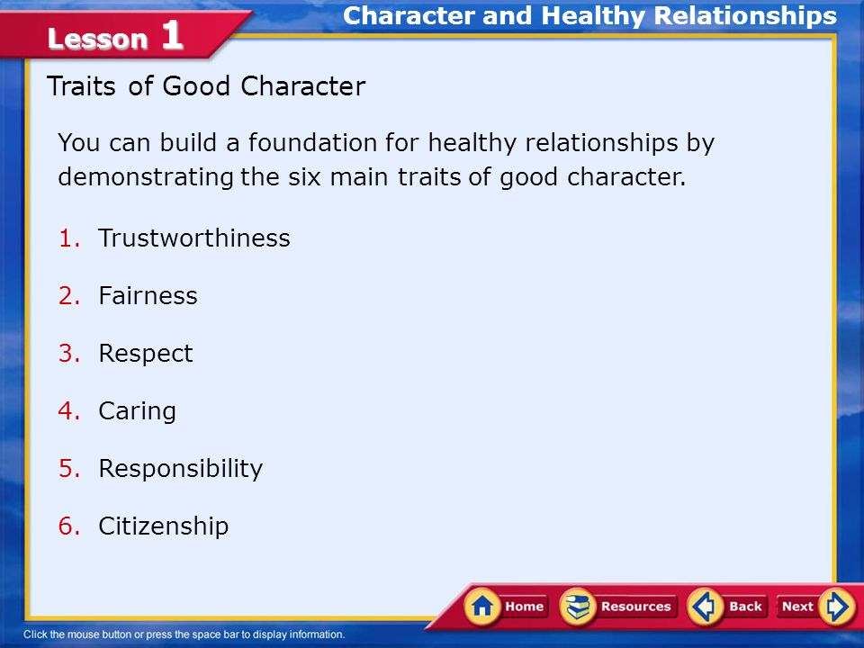 Character and Healthy Relationships