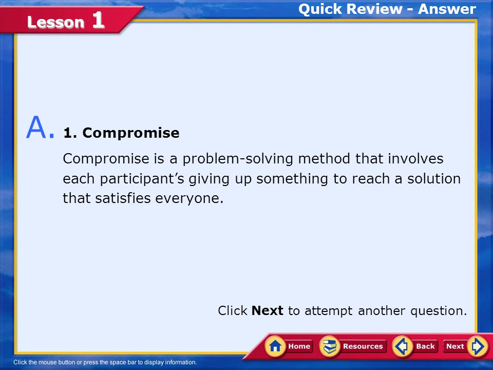 A. 1. Compromise Quick Review - Answer