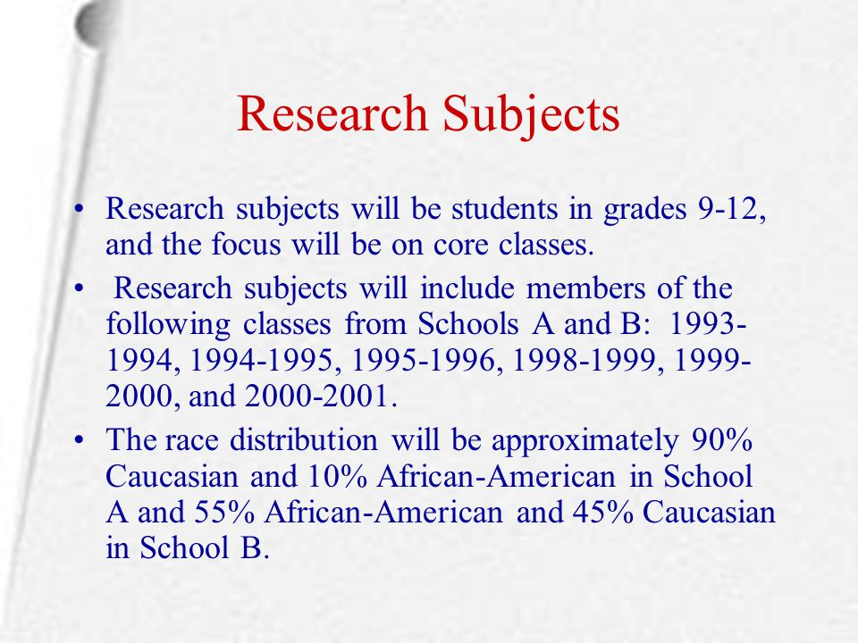 Research Subjects Research subjects will be students in grades 9-12, and the focus will be on core classes.