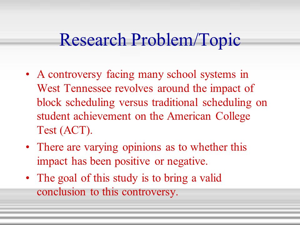 Research Problem/Topic
