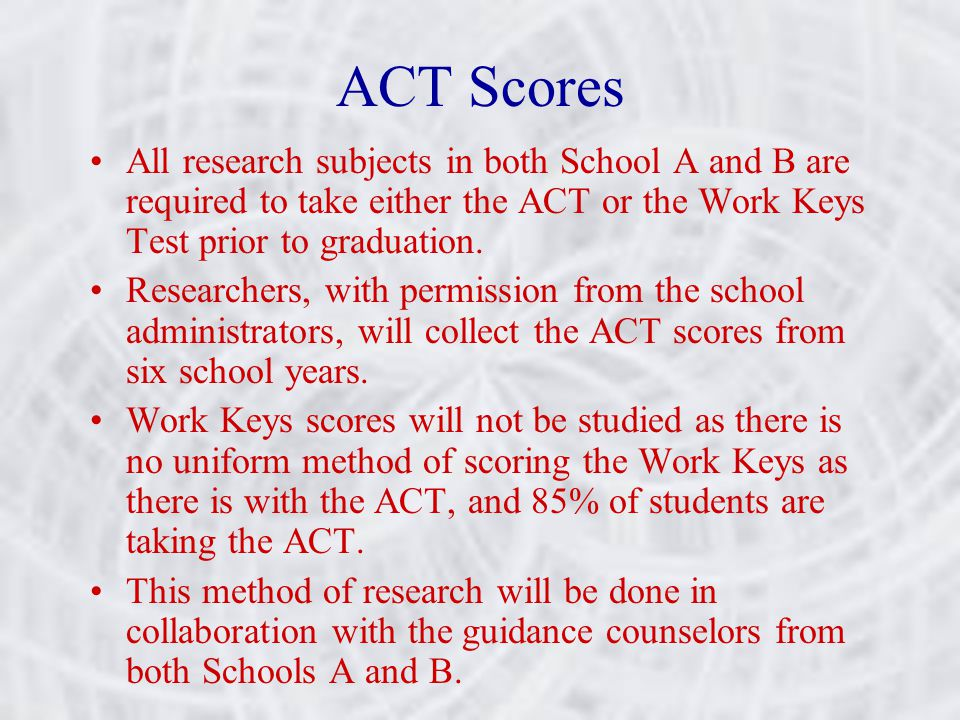 ACT Scores All research subjects in both School A and B are required to take either the ACT or the Work Keys Test prior to graduation.