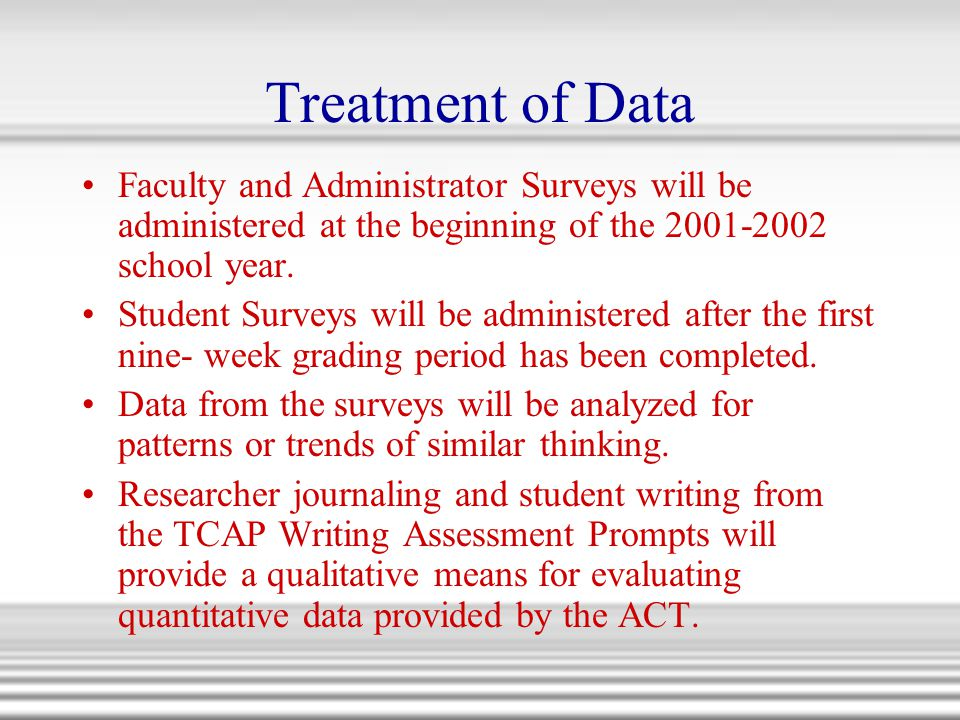 Treatment of Data Faculty and Administrator Surveys will be administered at the beginning of the 2001-2002 school year.