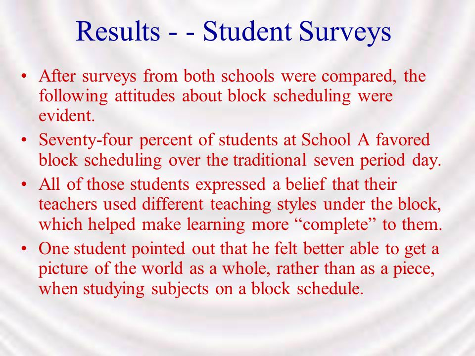 Results - - Student Surveys