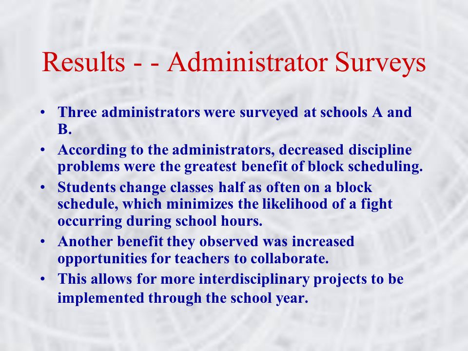 Results - - Administrator Surveys