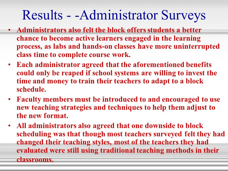 Results - -Administrator Surveys