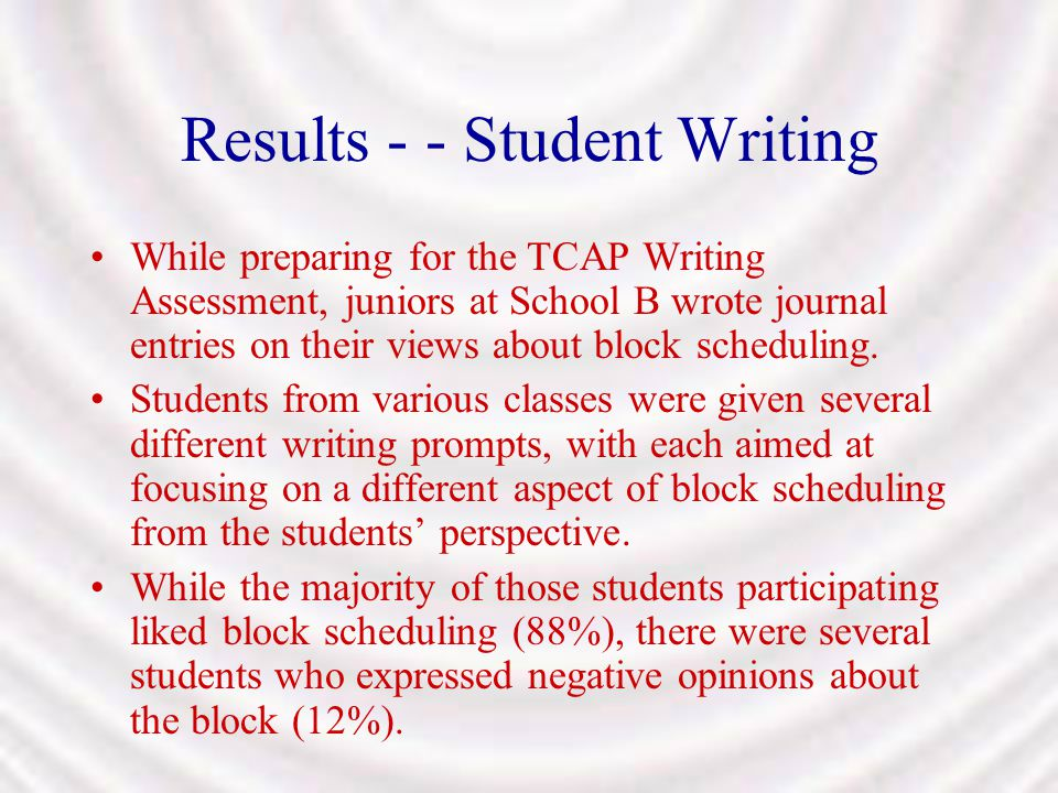 Results - - Student Writing