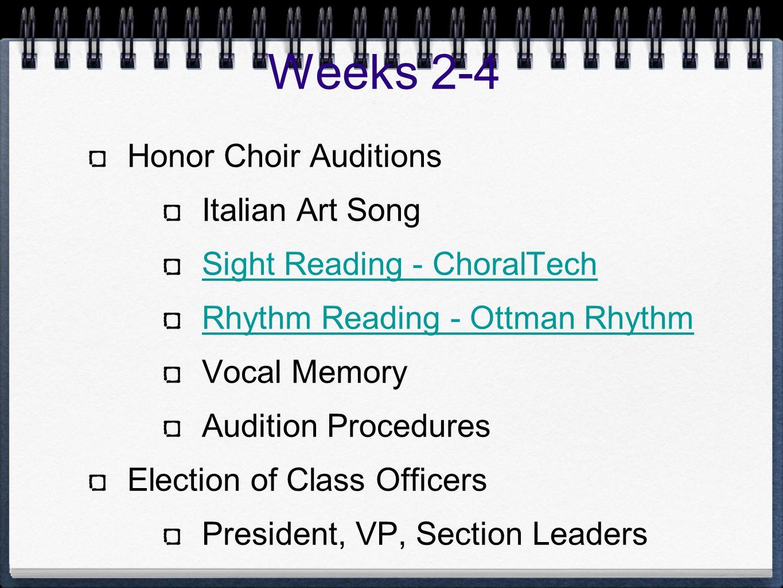 Weeks 2-4 Honor Choir Auditions Italian Art Song