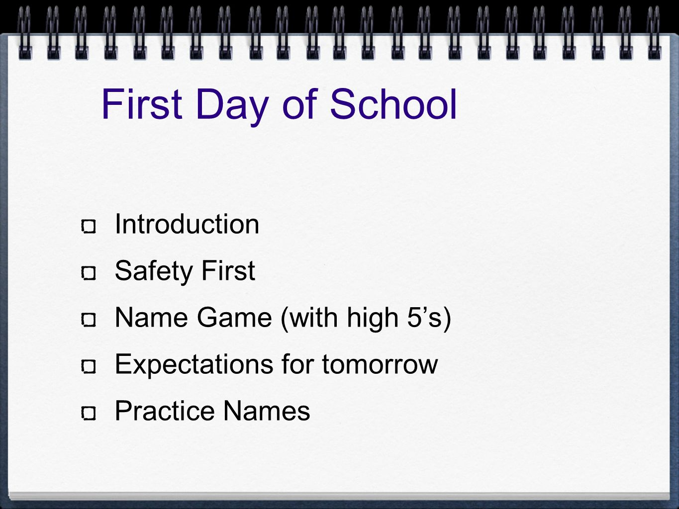 First Day of School Introduction Safety First