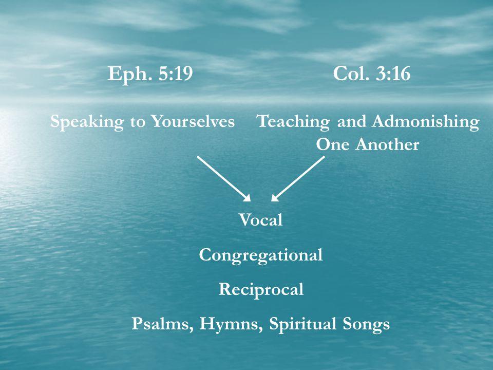 Teaching and Admonishing One Another Psalms, Hymns, Spiritual Songs