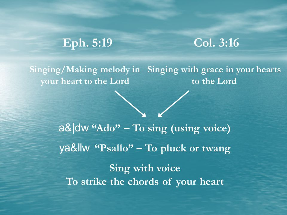 Eph. 5:19 Col. 3:16 a& dw Ado – To sing (using voice)