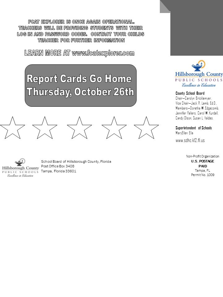 Report Cards Go Home Thursday, October 26th