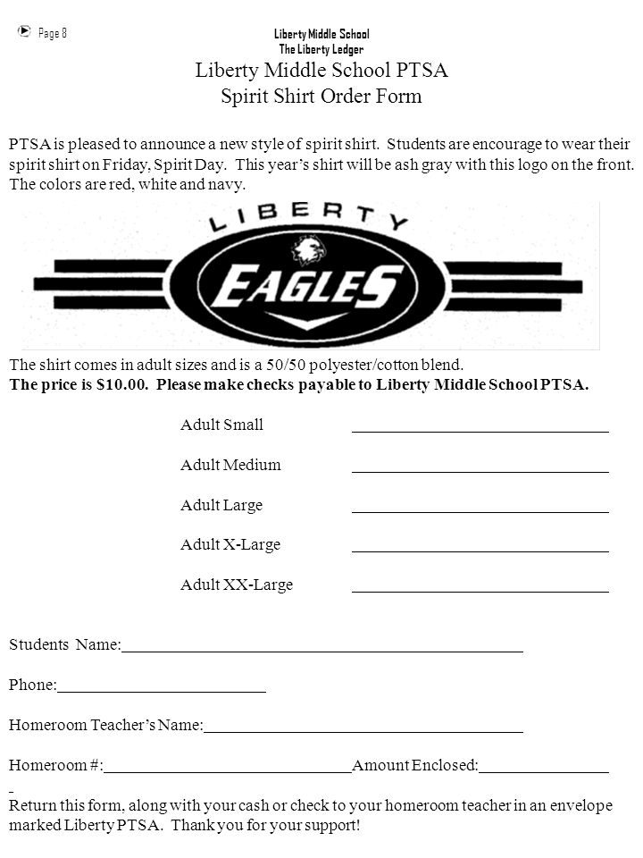 Liberty Middle School PTSA Spirit Shirt Order Form