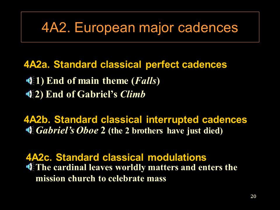 4A2. European major cadences