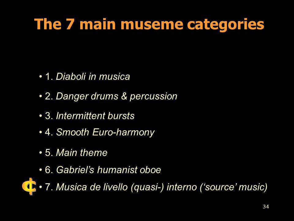 The 7 main museme categories