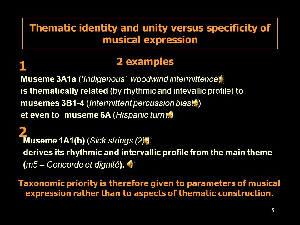 Thematic identity and unity versus specificity of musical expression