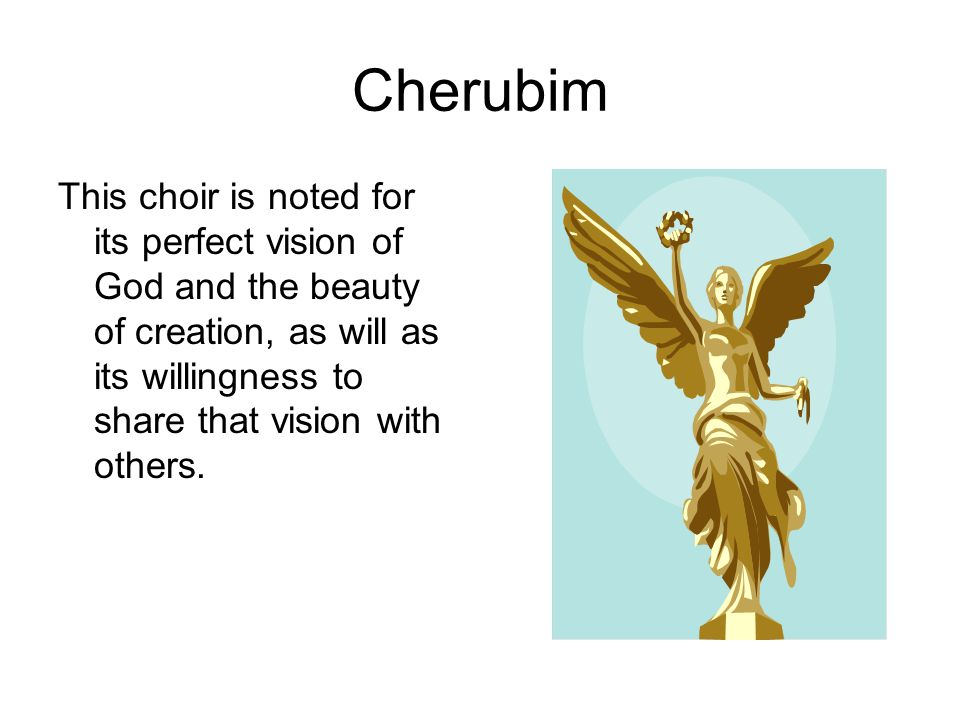 Cherubim This choir is noted for its perfect vision of God and the beauty of creation, as will as its willingness to share that vision with others.