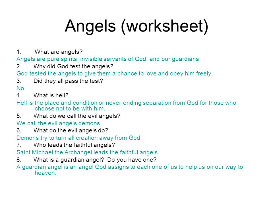 Angels (worksheet) What are angels