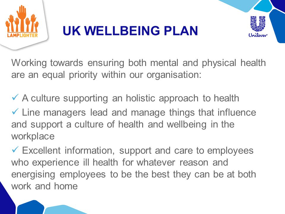 UK WELLBEING PLAN Working towards ensuring both mental and physical health are an equal priority within our organisation: