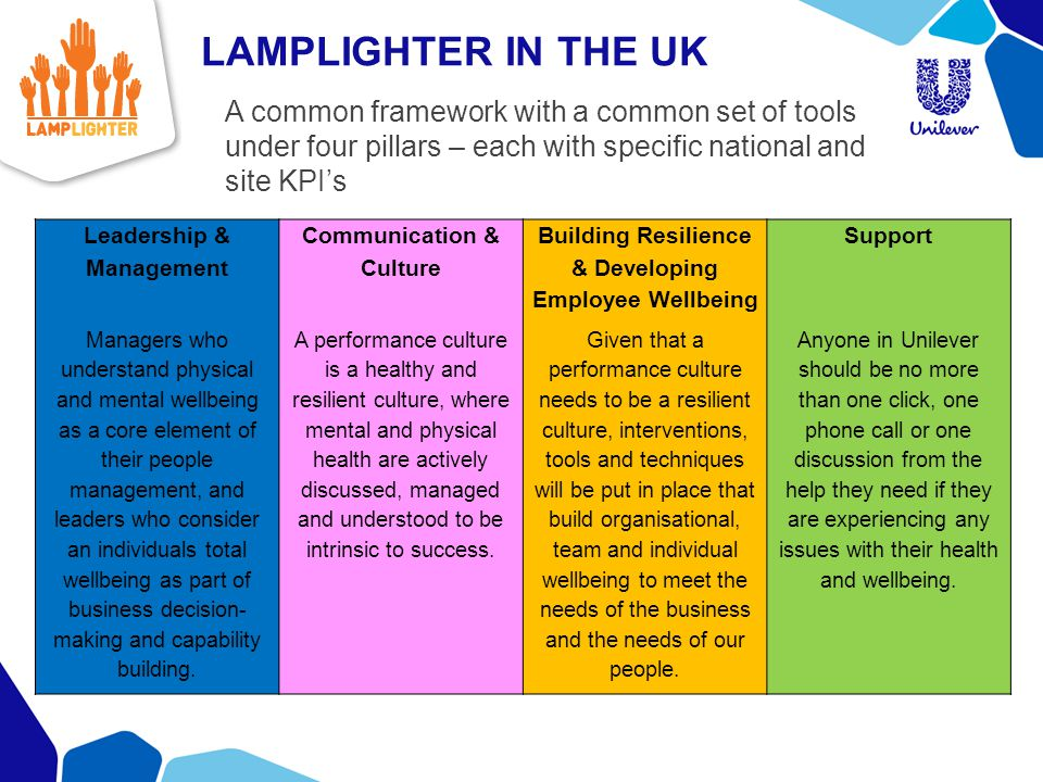 LAMPLIGHTER IN THE UK A common framework with a common set of tools under four pillars – each with specific national and site KPI's.