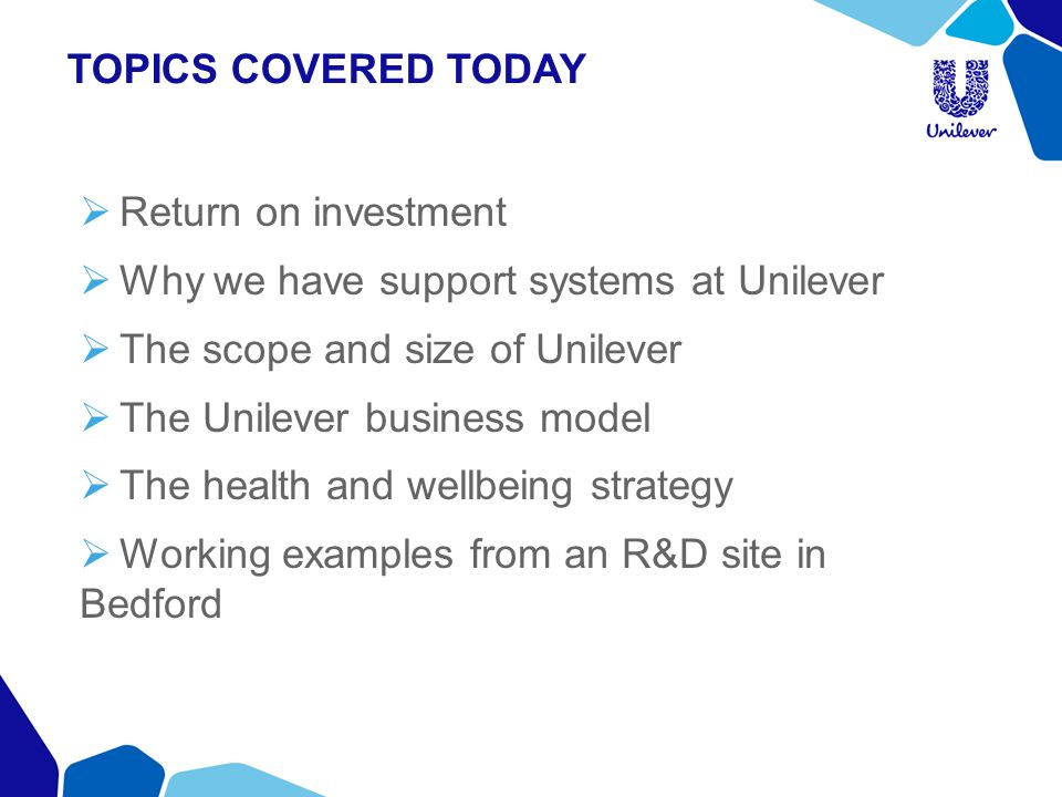 TOPICS COVERED TODAY Return on investment. Why we have support systems at Unilever. The scope and size of Unilever.