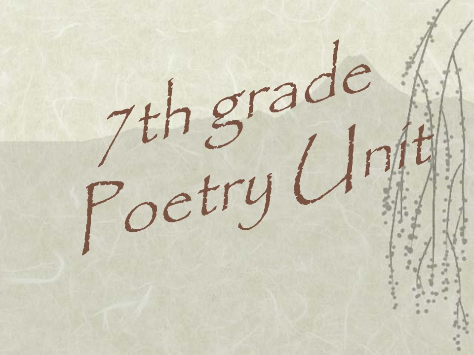 7th grade Poetry Unit