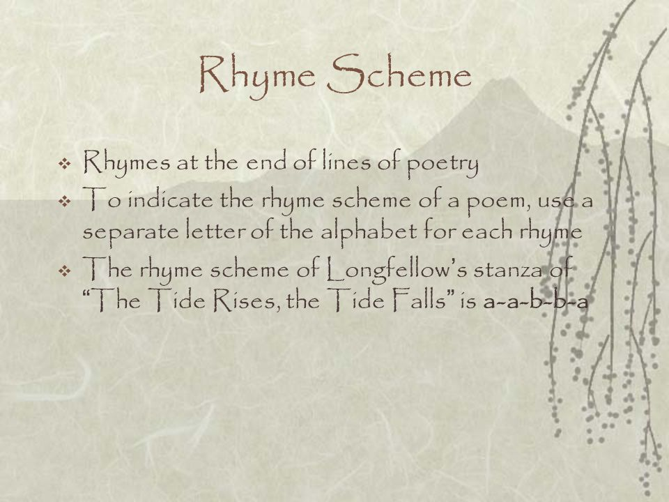 Rhyme Scheme Rhymes at the end of lines of poetry